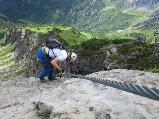 Sportklettersteig, 2 Länder Klettersteig, Sportklettersteig Kanzelwandbahn, Sportklettersteig Kleinwalsertal, Bergschule im Kleinwalsertal, Bergschule in Oberstdorf
