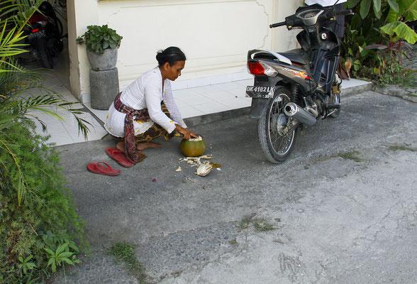 Kokosnuss Drink frisch zubereitet