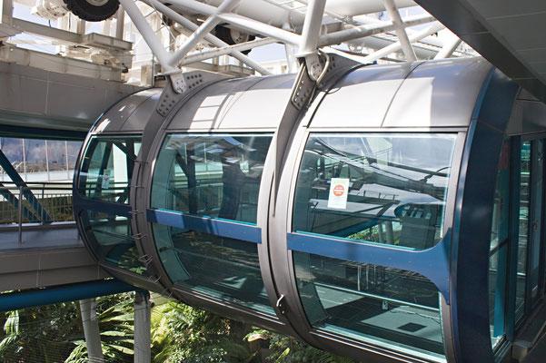 Das Riesenrad verfügt über 28 Gondeln, die jeweils bis zu 28 Personen fassen. Da die großen Glasflächen einen Treibhauseffekt erzeugen, verfügt jede der Kabinen über vier Klimaanlagen, die die Luft kühlen und trocknen.