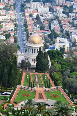 Viewpoin Haifa mit Blick auf den Schrein des Bab