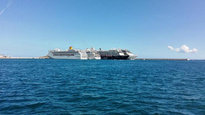 Vier Kreuzfahrtschiffe im Hafen von Ibiza