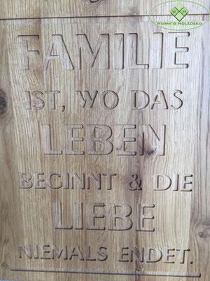 Wanduhr - Familie - Eiche