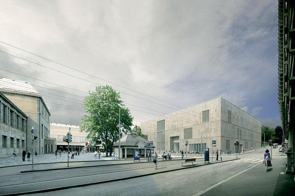 Kunsthauserweiterung (rechts im Bild)