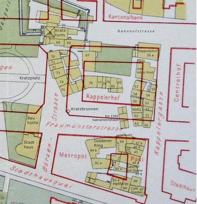 Kratz Plan Ausschnitt Ende 19. Jahrhundert