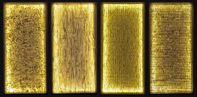 A qué hora sale la luna IV, 2014. Papel de seda sobre bastidor, 90x360 cms.
