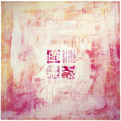 Serie Espacios, 116x116 cms. Técnica mixta sobre lienzo.