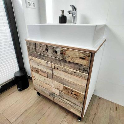Waschtisch Treibholz und weiss matt Sperrholz