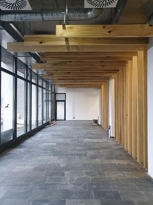 Raumteiler aus whitewood, Kanada, Bohlen von Boden zur Decke und in versch. Längen zur Fensterfront