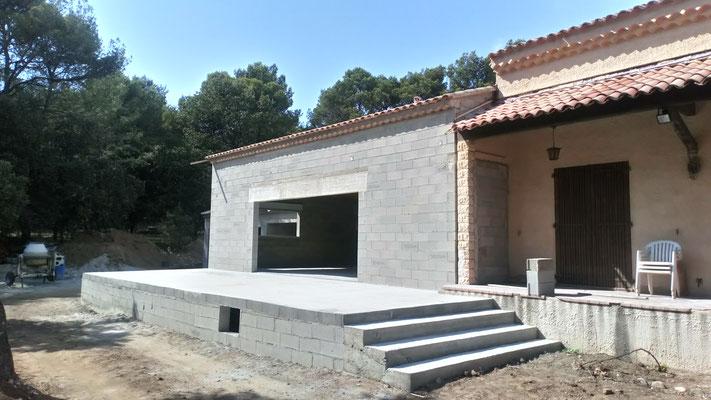 Extension de maison, garage et terrasse en sismicité 4 phase couverture