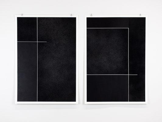 Alkyd en houtskool op papier, 2 maal 105 x 75 cm (2021)