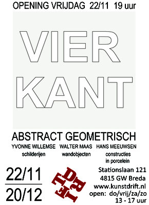 Flyer dan expositie 'Vierkant' in galerie Drift te Breda, dec 2019