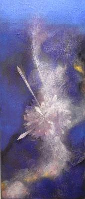 咲く花 岩絵の具、金箔 2013