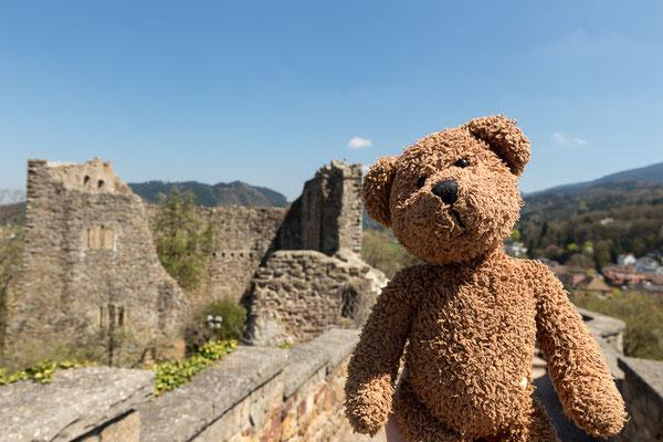 Hier bin ich auf dem Sölle der Burg von Baden. Die steht in Badenweiler. Das ist übrigens ein Bad. Im Markgräfler Land...