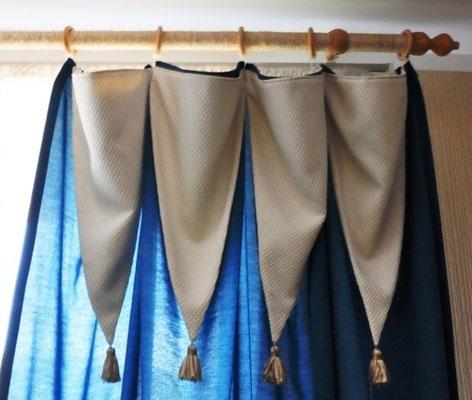 Работа дизайнера, обматывание обычное карниза для штор