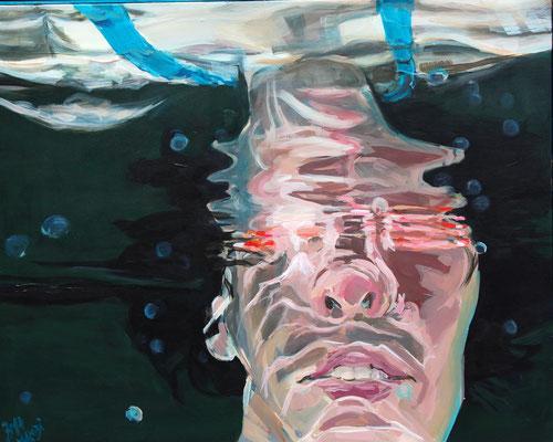 breathtaker 3: Spieglung mit Blitzlicht, 100 cm mal 80 cm, Acryl auf Leinwand, 2016