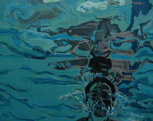 breathtaker 5: Spieglung im Hallenbad, 100 cm mal 80 cm, Acryl auf Leinwand, 2016