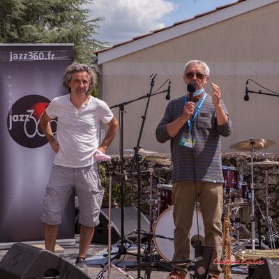 Festival JAZZ360 2021. Laurent Vanhée, Président de l'association éponyme, Bernard Capdepuy, 3ème Adjoint à la Mairie de Quinsac. Dimanche 6 juin 2021. Photographie © Christian Coulais