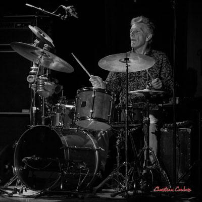 Pierre Thibaud, batterie/percussions; Christian Paboeuf Quartet, Festival JAZZ360 2021. Cénac, samedi 5 juin 2021. Photographie © Christian Coulais