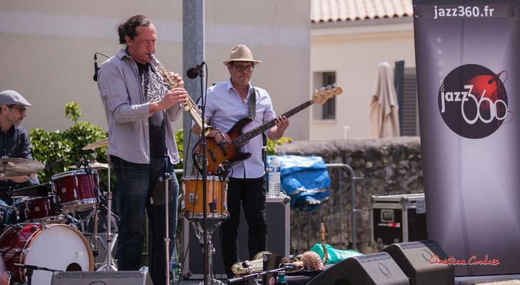 Antonin Mallaret, Vincent Le Fort, Benjamin Pellier; Bushmen. Festival JAZZ360 2021. Quinsac, dimanche 6 juin 2021. Photographie © Christian Coulais
