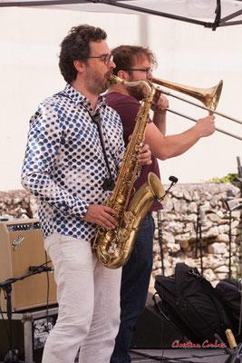 Vincent Périer, Simon Girard; Cissy Street. Festival JAZZ360 2021, Quinsac. Dimanche 6 juin 2021. Photographie © Christian Coulais