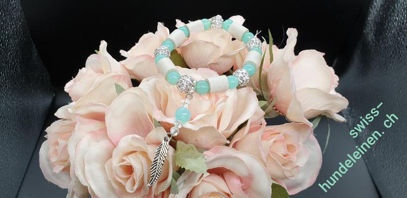 swiss hundeleinen, EM-Keramik gibt es als Halskette, Fusskette, Armband.