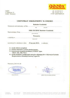 Certyfikat GAZEX