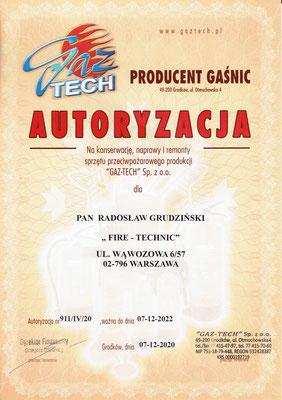 Autoryzacja GAZ-TECH serwis gaśnic