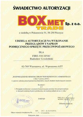 Autoryzacja BOX-MET serwis gaśnic