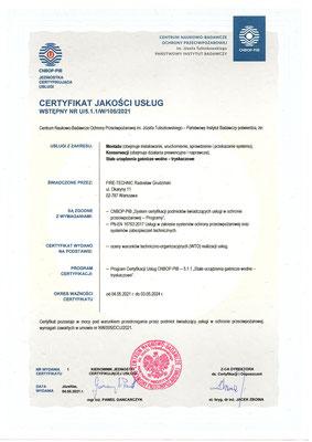 Certyfikat CNBOP serwis instalacji tryskaczowych