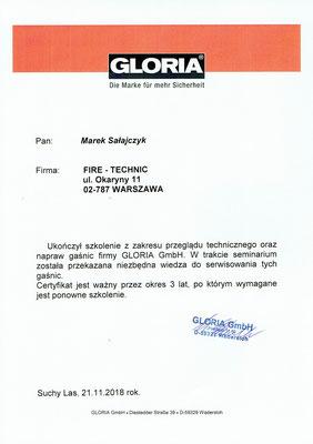 Autoryzacja GLORIA remont i serwis gaśnic