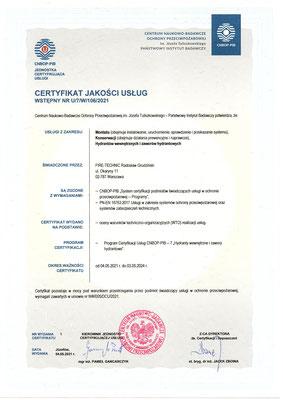 Certyfikat CNBOP serwis hydrantów wewnętrznych