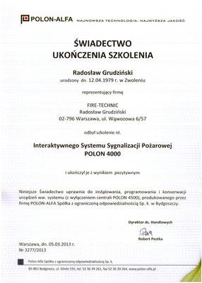 Certyfikat POLON ALFA