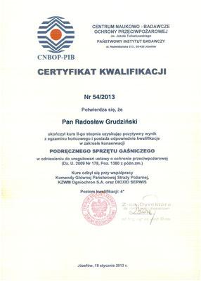 Certyfikat kwalifikacji CNBOP II stopień