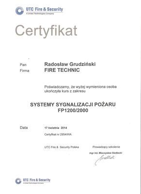 Certyfikat UTC Fire&Security
