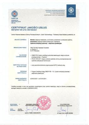 Certyfikat CNBOP serwis systemów oddymiania