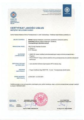 Certyfikat CNBOP przegląd zbiorników przeciwpożarowych