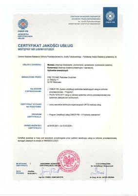Certyfikat CNBOP serwis hydrantów zewnętrznych