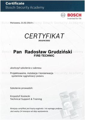 Certyfikat BOSCH