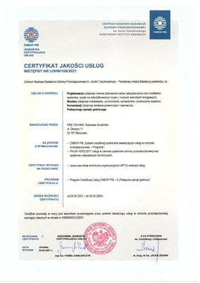 Certyfikat CNBOP serwis gaśnic