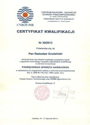 Certyfikat kwalifikacji CNBOP I stopień
