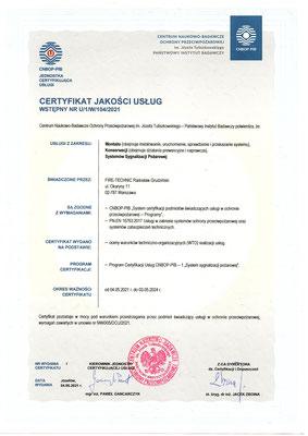 Certyfikat CNBOP serwis systemów sygnalizacji pożaru