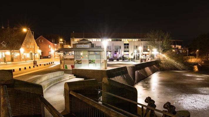 Schleuse Mühlenteich bei Nacht