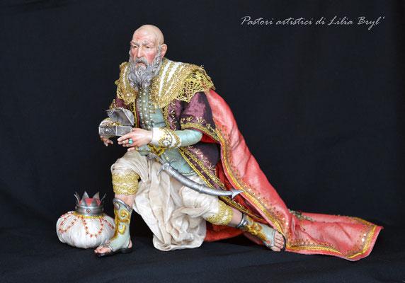 Re Magi stile '700 napoletano - il vecchio Re. Re magi di Lilia Bryl. Pastori napoletani stile settecento