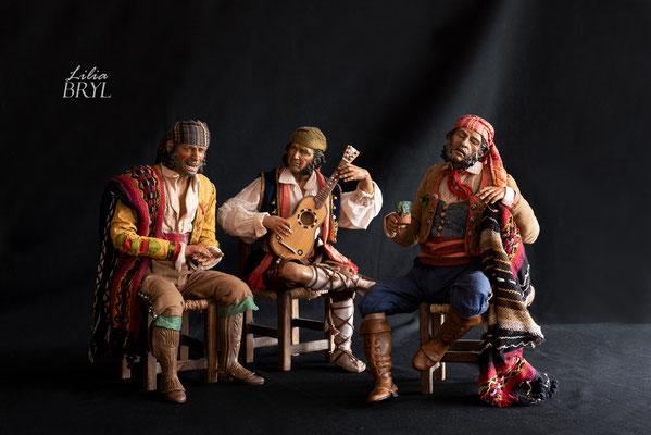 Presepe, una scena popolare. Pastori di Lilia Bryl in stile '700 spagnolo