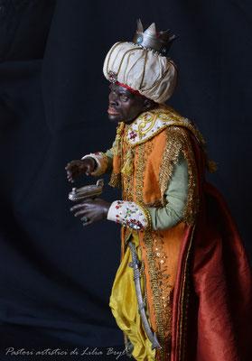 Re Magi stile '700 napoletano - Re moro. Re magi di Lilia Bryl. Pastori napoletani stile settecento