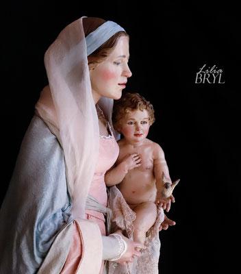 """Madonna con bambino, Pastori artistici di Lilia Bryl, interpretazione moderna dello stile  '700 napoletano Natività """"botticelliana"""" di Lilia Bryl, Cod NAT014"""