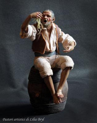 Pastori artistici: Mangiamaccheroni seduto sulla botte, 35 cm