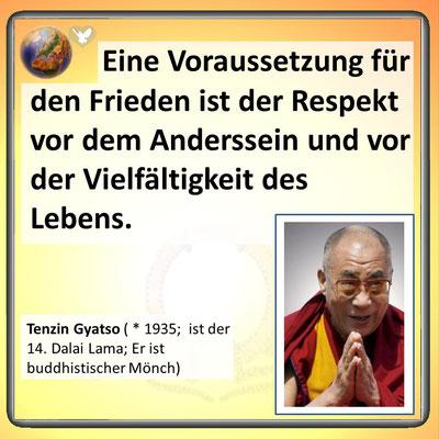 Friedenszitat vom Dalai Lama
