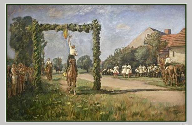 Otto-Garten (1902 -2000) - Hahnrupfen (Öl auf Hartfaser)