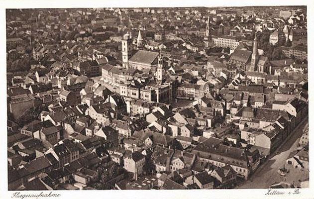 1928-Zittau-Ortsansicht vom Flugzeug aus
